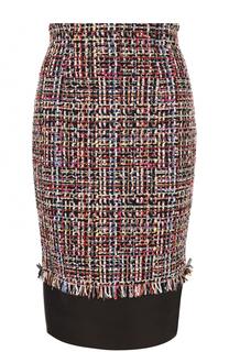 Буклированная юбка-карандаш с кожаной отделкой Alexander McQueen