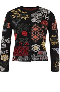 Кардиган с укороченным рукавом и контрастной вышивкой Alexander McQueen