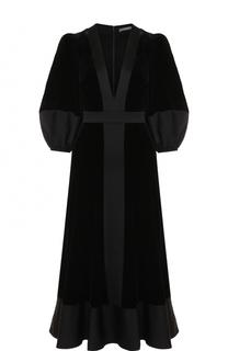 Бархатное платье-миди с глубоким V-образным вырезом Alexander McQueen