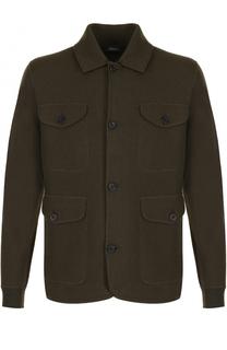 Шерстяной однобортный пиджак с накладными карманами Z Zegna