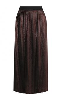 Плиссированная юбка-миди с металлизированной отделкой BOSS