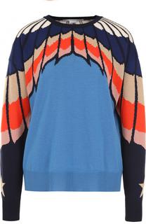 Шерстяной пуловер с круглым вырезом и принтом Stella McCartney
