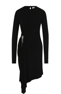 Приталенное мини-платье с драпировкой и длинным рукавом Saint Laurent