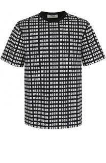 Хлопковая футболка с принтом MSGM