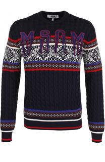 Шерстяной свитер фактурной вязки MSGM