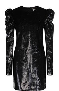 Приталенное мини-платье с объемными рукавами Saint Laurent