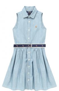 Мини-платье из денима с контрастным поясом Polo Ralph Lauren