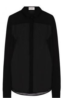 Шелковая полупрозрачная блуза прямого кроя Saint Laurent