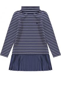 Трикотажное платье в полоску с плиссировкой Polo Ralph Lauren