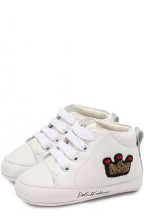 Кожаные пинетки с аппликацией Dolce & Gabbana
