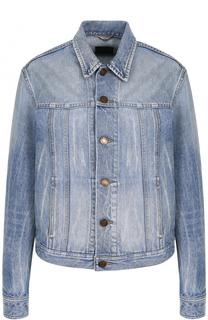 Джинсовая куртка с потертостями и принтом на спинке Saint Laurent