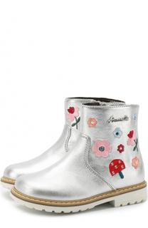 Кожаные ботинки с металлизированной отделкой и вышивкой Simonetta