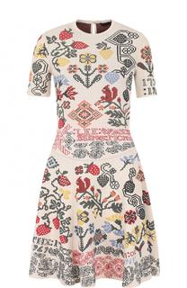 Приталенное мини-платье с вышивкой Alexander McQueen