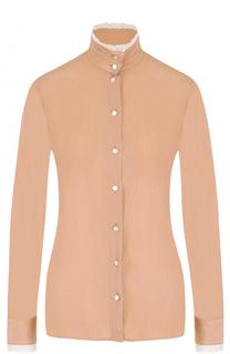 Блуза с воротником-стойкой и кружевной отделкой Stella Jean