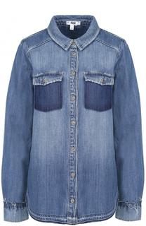 Джинсовая блуза прямого кроя с потертостями Paige
