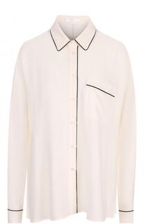 Шелковая блуза с контрастной отделкой BOSS