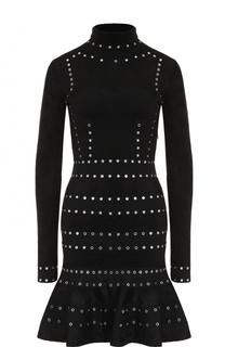 Приталенное платье с длинным рукавом и воротником-стойкой Alexander McQueen