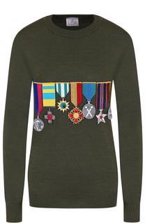 Шерстяной пуловер с круглым вырезом и нашивками Stella Jean