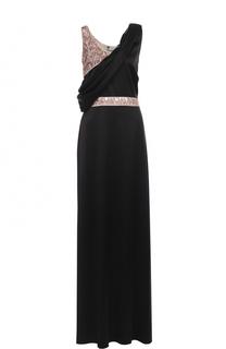 Шелковое платье-макси с контрастными пайетками Lanvin