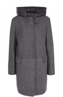 Шерстяное пальто прямого кроя с капюшоном Fay