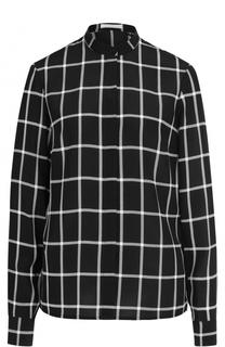 Блуза в клетку с воротником-стойкой BOSS