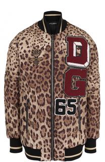 Удлиненный бомбер с леопардовым принтом Dolce & Gabbana