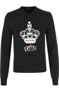 Шерстяной пуловер с вышивкой Dolce & Gabbana