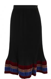 Плиссированная юбка-миди с бархатной отделкой Stella Jean