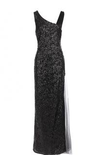 Платье-макси с пайетками и прозрачной вставкой Lanvin