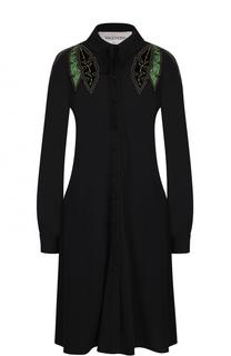 Платье-миди с вышивкой и воротником аскот Valentino