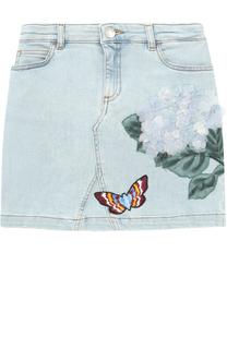 Мини-юбка из денима с цветочной аппликацией и вышивкой Dolce & Gabbana