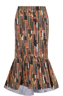 Хлопковая юбка-годе с принтом Stella Jean