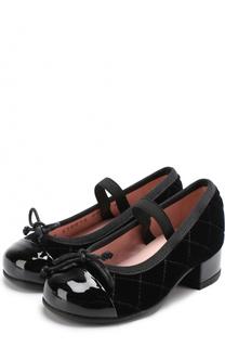 Текстильные туфли с лаковым мысом и бантами Pretty Ballerinas
