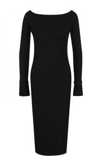 Шерстяное платье с длинным рукавом и вырезом-лодочка Helmut Lang