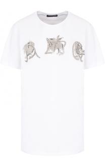 Хлопковая футболка прямого кроя с декоративной отделкой Alexander McQueen