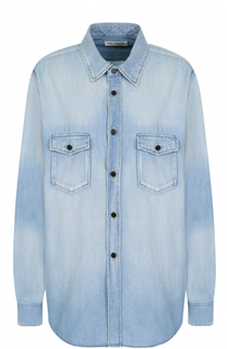 Джинсовая блуза свободного кроя с потертостями Saint Laurent