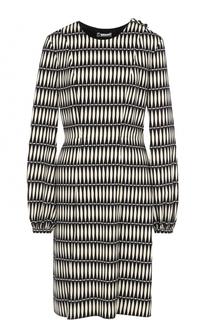 Приталенное платье-миди с принтом Lanvin