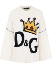 Шерстяной пуловер свободного кроя с принтом Dolce & Gabbana
