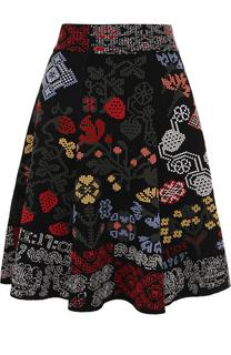 Вязаная мини-юбка с контрастной вышивкой Alexander McQueen