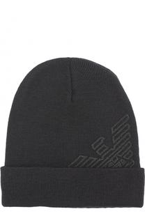 Шерстяная шапка с логотипом бренда Emporio Armani