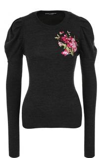 Шерстяной пуловер с цветочной вышивкой Dolce & Gabbana