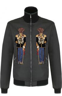 Бомбер на молнии с контрастной отделкой Dolce & Gabbana