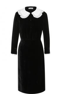 Бархатное платье-миди с контрастной отделкой Altuzarra
