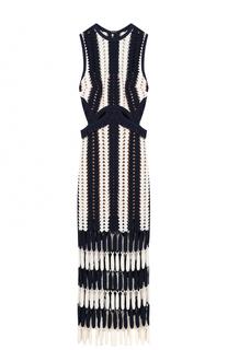Вязаное платье-миди без рукавов self-portrait