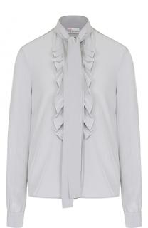 Шелковая блуза с оборками и воротником аскот REDVALENTINO
