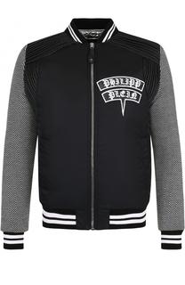 Куртка-бомбер с принтом и нашивками Philipp Plein
