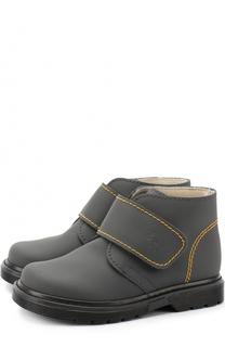 Кожаные ботинки с контрастной прострочкой и застежками велькро Il Gufo