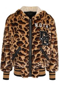 Куртка из эко-меха с леопардовым принтом на молнии с капюшоном Dolce & Gabbana
