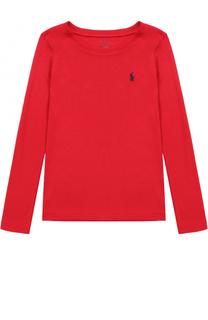 Лонгслив из хлопка и вискозы с логотипом бренда Polo Ralph Lauren