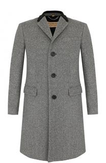 Шерстяное однобортное пальто с отложным воротником Burberry